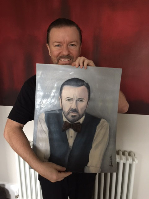 The King of Comedy, from the UK Mr. Ricky Gervais receiving his Oil Painting! (Creator of the series The Office).